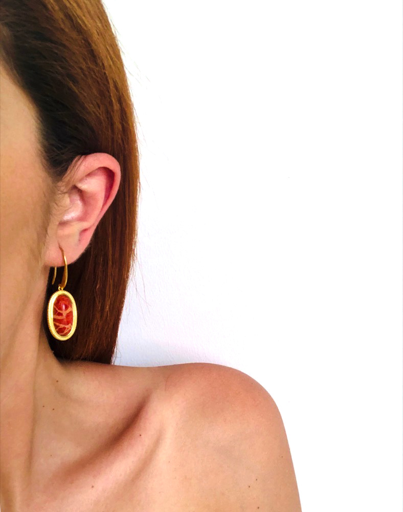 Red Coral Oval Earrings